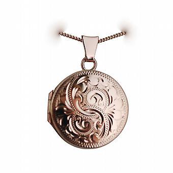 9ct Rose Gold 20mm handgravierte flaches Rundes Medaillon mit einem Bordstein Kette 16 Zoll nur geeignet für Kinder