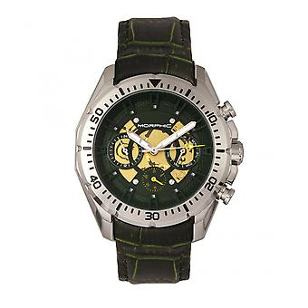Morphic M66 Series kostra Dial kožené-Band hodinky w/deň/Date-Silver/Forest Green