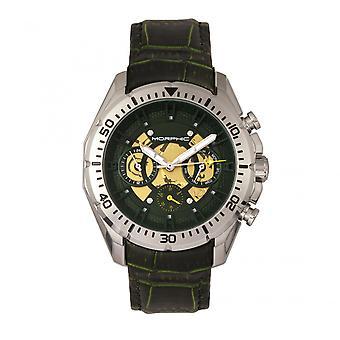 M66 mórfico série esqueleto Dial relógio de couro-banda w / dia/data-prata/floresta verde
