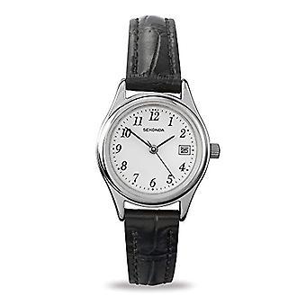 Sekonda pols horloge, analoog, Man, huid, zwart (3)
