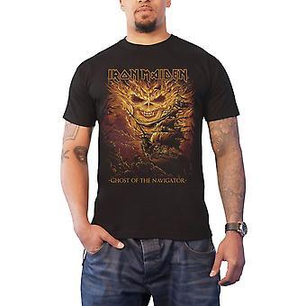 Iron Maiden T Shirt Ghost of the Navigator Beast Logo Official Mens New Black