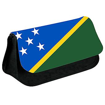 Solomon Islands Flag Printed Design Pencil Case for Stationary/Cosmetic - 0160 (Black) by i-Tronixs