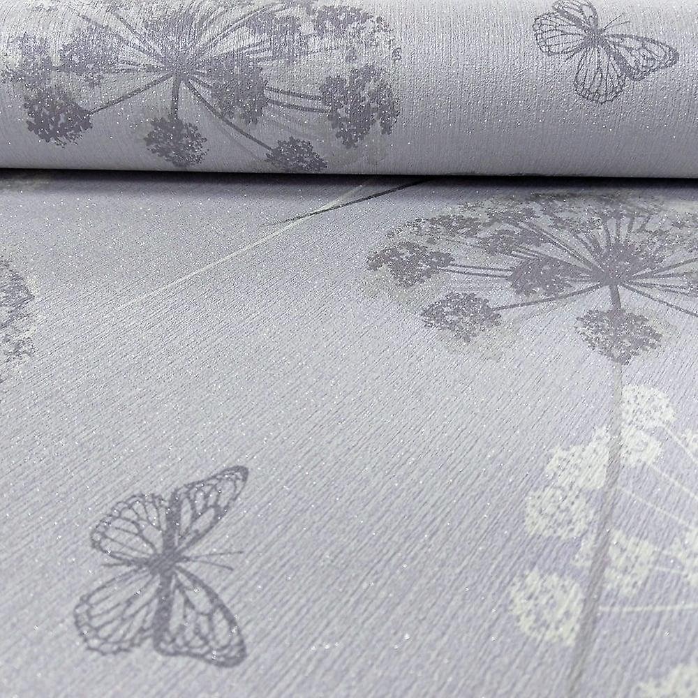 Kitty Floral Pattern Glitter Wallpaper Butterfly Flower Motif Textured Vinyl