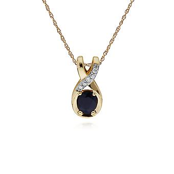 Classic Oval Sapphire & Diamond Twisted Bale Pendant Necklace in 9ct Yellow Gold 135P1900029