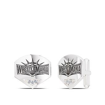 WWE WrestleMania 35 Diamond Logo Cuff Links In Sterling Silver