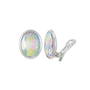 Eternal Collection Precious Aurora Borealis Crystal Oval Silver Tone Stud Clip On Earrings