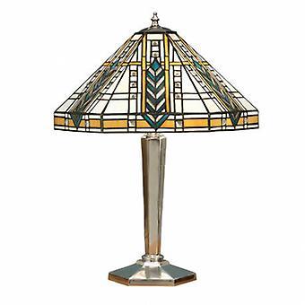 2 Lekka średniosyskowa lampa stołowa polerowana aluminium, szkło Tiffany