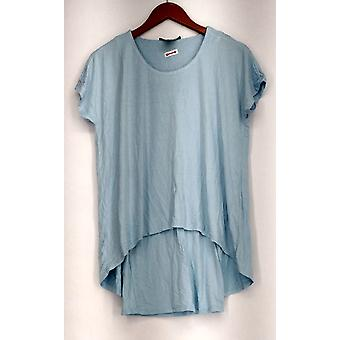 Kate & Mallory Top Short Sleeve Rounded Neckline Light Blue A433643