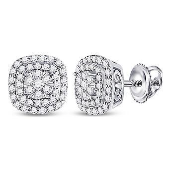 1/2 Carat (ctw H-I, I1-I2) Diamond Cluster Halo Post Earrings in 14K White Gold