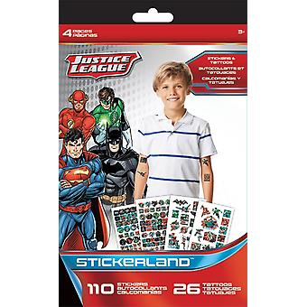 Sticker + Tattoo Stickerland Pad - Justice League - 4 pages Toys Gifts Stationery New tt3307