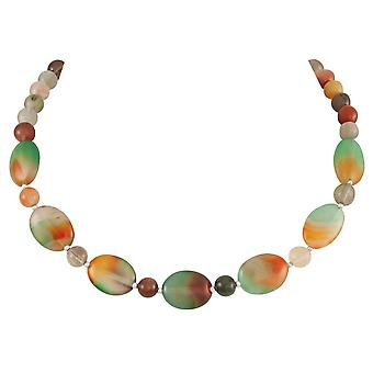 Eternal Collection Seasons Embrace Agate And Rutilated Quartz Semi Precious Beaded Necklace