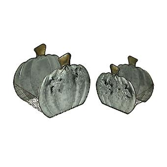 Rustic Galvanized Metal Harvest Pumpkin Baskets with Leaf Accent Set of 2