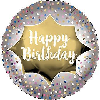 Anagram 18in Happy Birthday Satin Gold Burst Round Foil Balloon