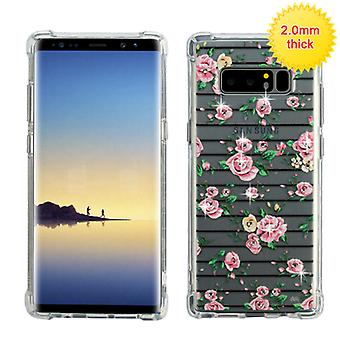 MYBAT Pink Fresh Roses Glassy Klarity Premium Candy Skin Cover (w/ Diamonds) for Galaxy Note 8