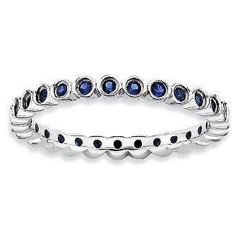 925 Sterling Silver Bezel Polished Patterned Rhodium plaqué Expressions Stackable Created Sapphire Ring Jewelry Gifts fo