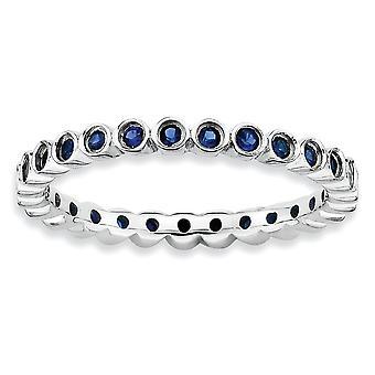 925 sterling sølv bezel polert mønstret rhodium belagt stables uttrykk opprettet sapphire ring smykker gaver