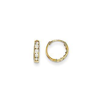 14k keltainen kulta kiillotettu saranoitu vanne saranoitu CZ Cubic Zirkonia Simuloitu Diamond Vanne pojille tai tytöille korvakorut toimenpiteet