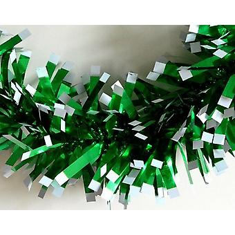 2m Chunky Green Tinsel with White Tips for Christmas Tree Decoration