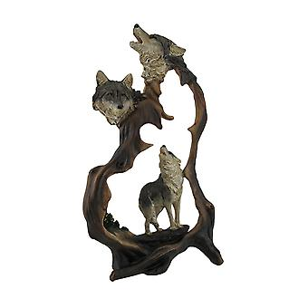 Howling Mountain Wolves Cutout Statue