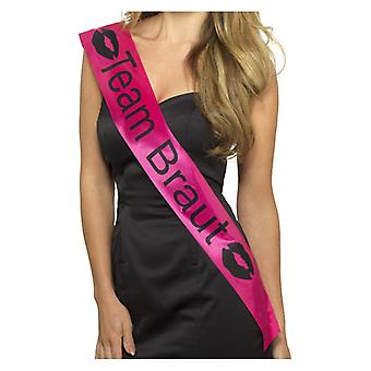 Squadra Braut Sash, rosa, con scritte in nero Fancy Dress Accessory