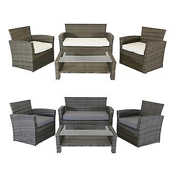 Charles Bentley Modern 4 Piece Rattan Garden Patio Furniture Set - Weatherproof Tempered Glass in Natural / Grey