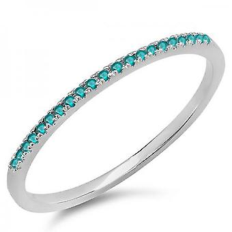 Dazzlingrock Collection 0.08 Carat (ctw) 10K Round Blue Diamond Dainty Anniversary Wedding Stackable Ring, White Gold