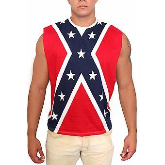 Bandera rebelde confederada abierta lateral camisa sin mangas