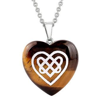 Amulet Celtic Shiled solmu sydän valtuudet suojelua energia tiikeri silmä turvonnut sydän riipus kaulakoru