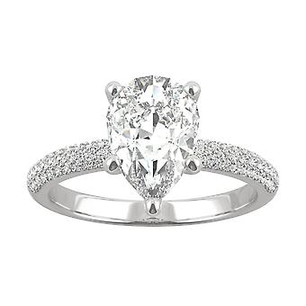 14K White Gold Moissanite by Charles & Colvard 10x7mm Pear Engagement Ring, 2.45cttw DEW