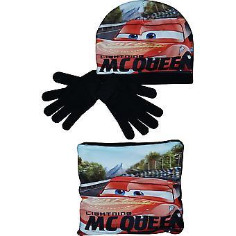 Boys RH4243 Disney Cars Winter Hat Scarf collar and gloves set Boys RH4243 Disney Cars Winter Hat Eșarfă guler și mănuși set