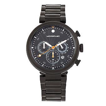 Morphic M87 sorozat Kronográf karkötő Watch w / Dátum - Fekete