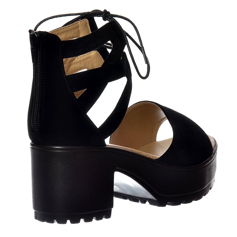 Shoekandi Lace Up Cleated Sole Block Heel Sandals - Black