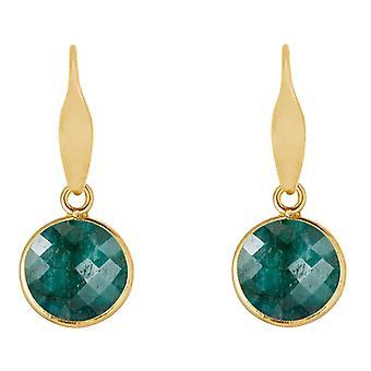 Gemshine øreringe smaragd ædelsten dråber i 925 sølv, forgyldt eller Rose