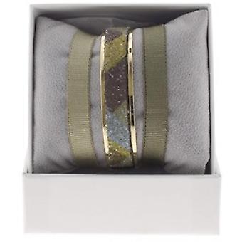 Box interchangeable A48616 - ring Ribbon 9 mm geometric ornaments gold yellow / brown woman
