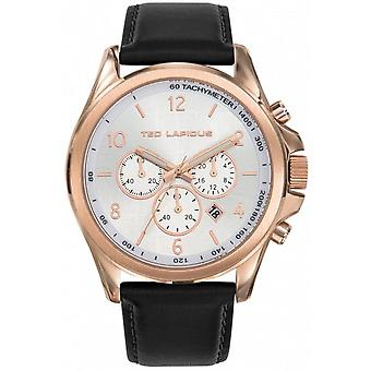Watch Ted Lapidus 5132402 - Dor Rose man White Dial steel case black leather