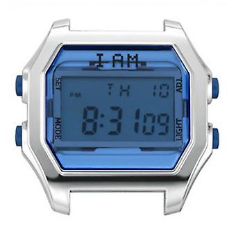 Watch I Am The Watch IAM-105 - Bo tier Aspect M tal Silver Glass and Blue Buttons / Horn Set 20 mm