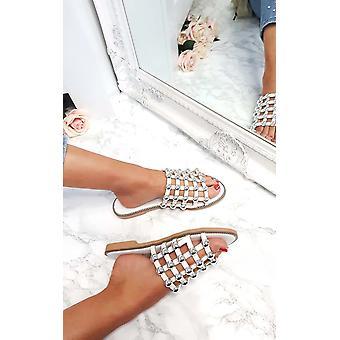 IKRUSH Womens Liza bezaaid gekooide Open teen sandalen