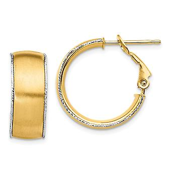 14k 7.5mm Satin With Wg Sparkle Cut Wire Accent Round Hoop Earrings Jewelry Gifts for Women