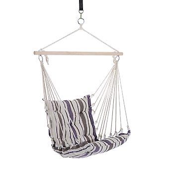 Outsunny Outdoor Hammock Hanging Rope Cushioned Chair Garden Yard Patio Swing Seat Wooden Cotton Cloth (Brown)