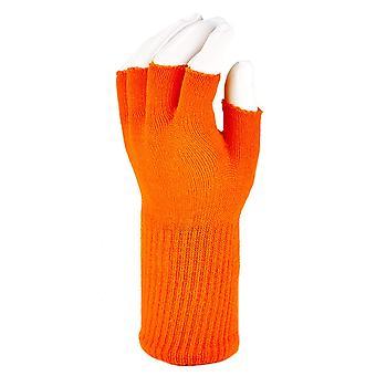 Funny Guy Mokken Warme Stretchy Knit Fingerless Handschoenen voor vrouwen en mannen, Oranje ...