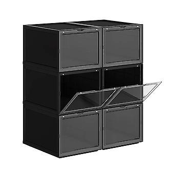 Set van 6 stapelbare zwarte schoenendozen - tot schoenmaat 46
