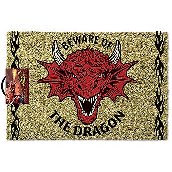 Anne Stokes doormat Beware of the Dragon printed red and black, made of coconut fiber, underside made of PVC.
