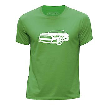 STUFF4 Boy's Round Neck T-Shirt/Stencil Car Art / 16 Mustang/Green