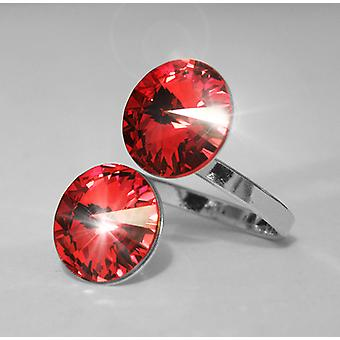 Ring with 2 Red Swarovski crystals RMB 2.5