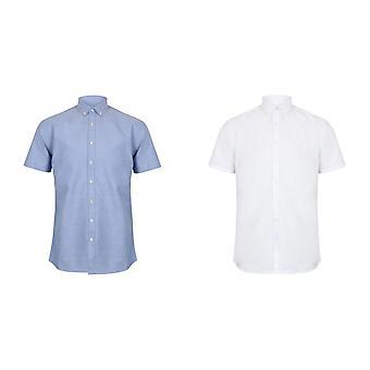 Henbury Mens moderne korte mouw Oxford Shirt