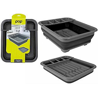 Summit Pop! Collapsible Dish Rack Drainer with Draining System Black/Grey