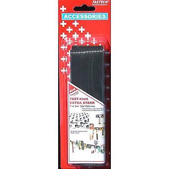 FASTECH® 730-330-1C Gancho e laço fita stick-on (adesivo de derretimento quente) Gancho e almofada de loop, Trabalho pesado (L x W) 1000 mm x 50 mm Preto 1 Par