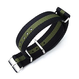 Strapcode n.a.t.o ремешок для часов miltat 20mm, 21mm или 22mm g10 nato military watch strap баллистическая нейлоновая повязка, полированная - черный и военно-зеленый
