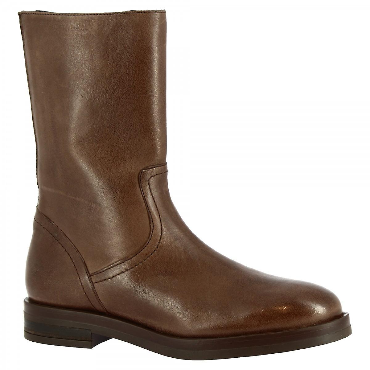 Leonardo Shoes Women's handmade mid calf boots in dark brown leather side zip xsvjF