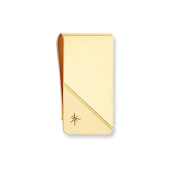 14k Gold Plated Solid Engravable Sparkle Cut Polished and satin Star Cut .001ct. Diamond Money Clip Jewelry Gifts for Me
